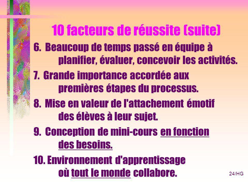 24/HG 10 facteurs de réussite (suite) 6.