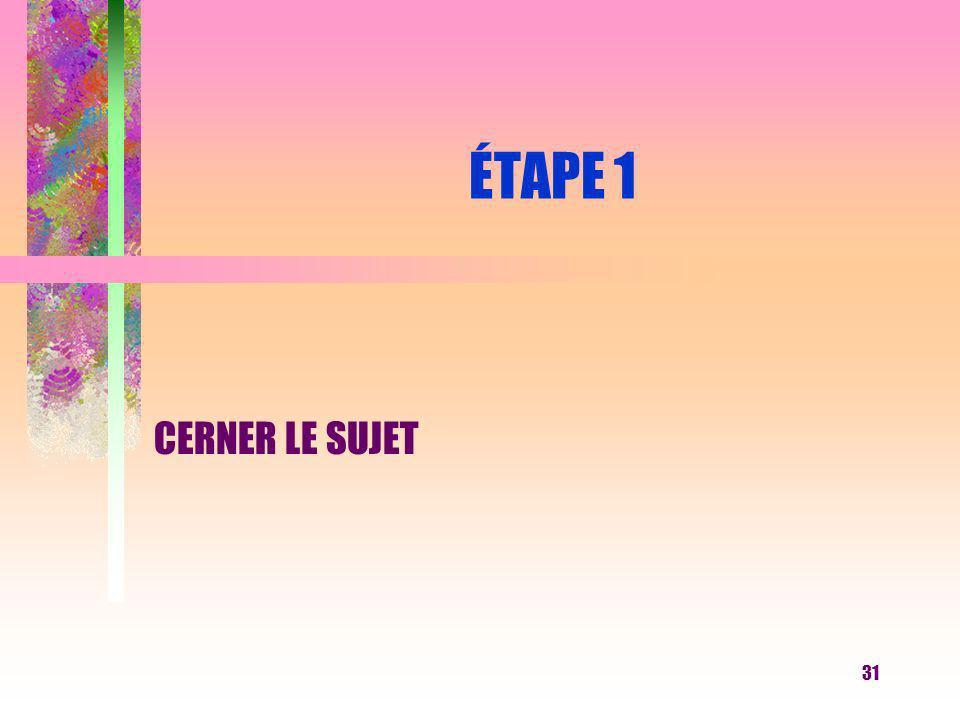 31 ÉTAPE 1 CERNER LE SUJET