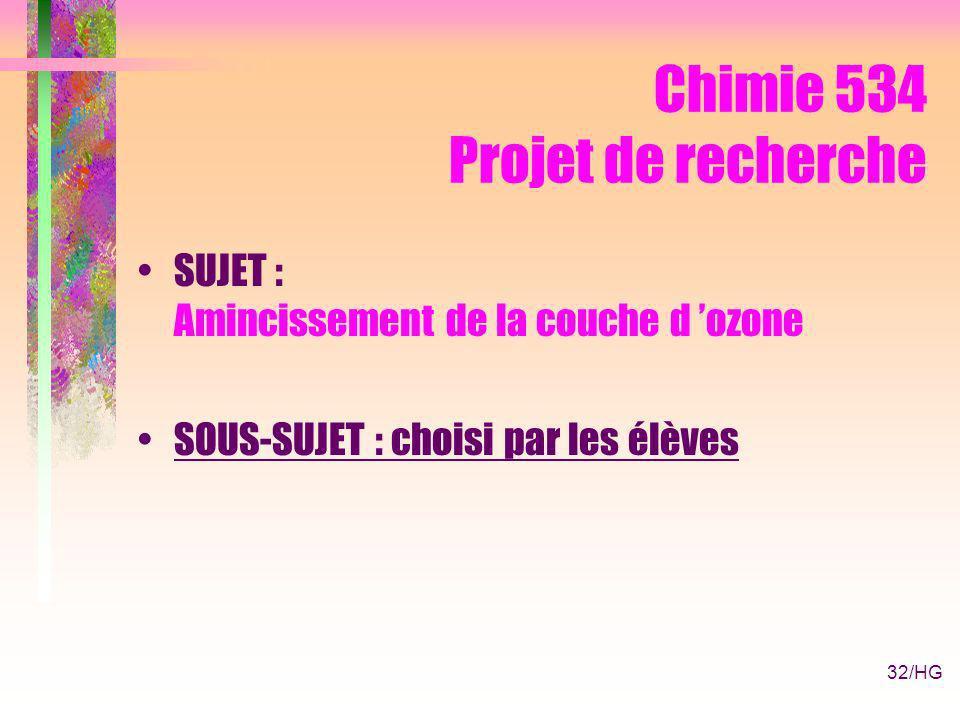 32/HG Chimie 534 Projet de recherche SUJET : Amincissement de la couche d ozone SOUS-SUJET : choisi par les élèves