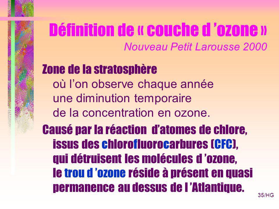 35/HG Définition de « couche d ozone » Nouveau Petit Larousse 2000 Zone de la stratosphère où lon observe chaque année une diminution temporaire de la concentration en ozone.
