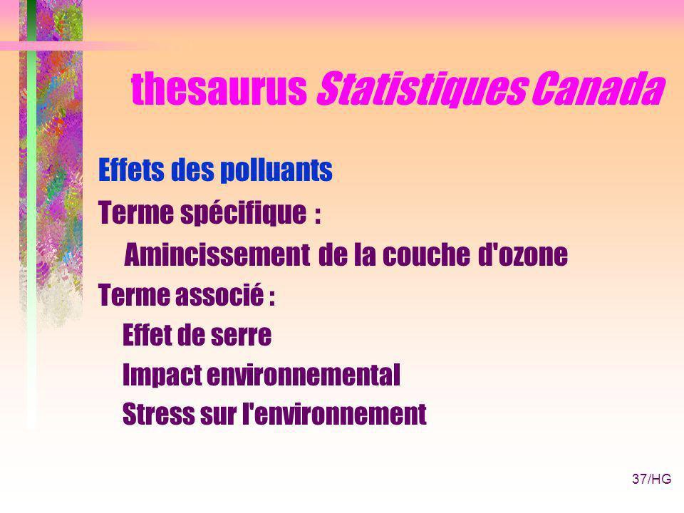 37/HG thesaurus Statistiques Canada Effets des polluants Terme spécifique : Amincissement de la couche d ozone Terme associé : Effet de serre Impact environnemental Stress sur l environnement