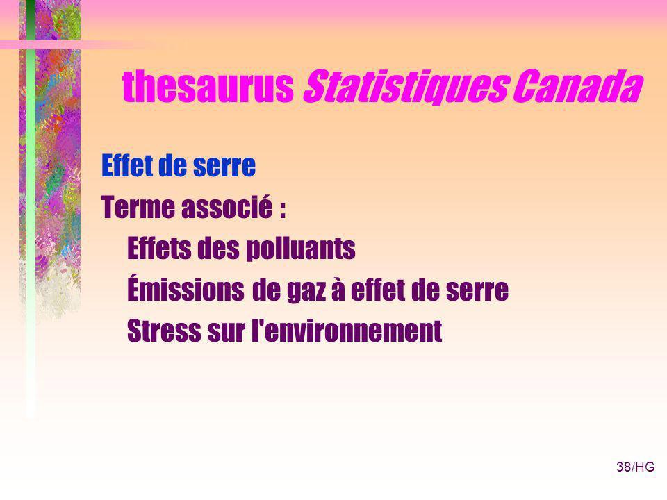 38/HG thesaurus Statistiques Canada Effet de serre Terme associé : Effets des polluants Émissions de gaz à effet de serre Stress sur l environnement