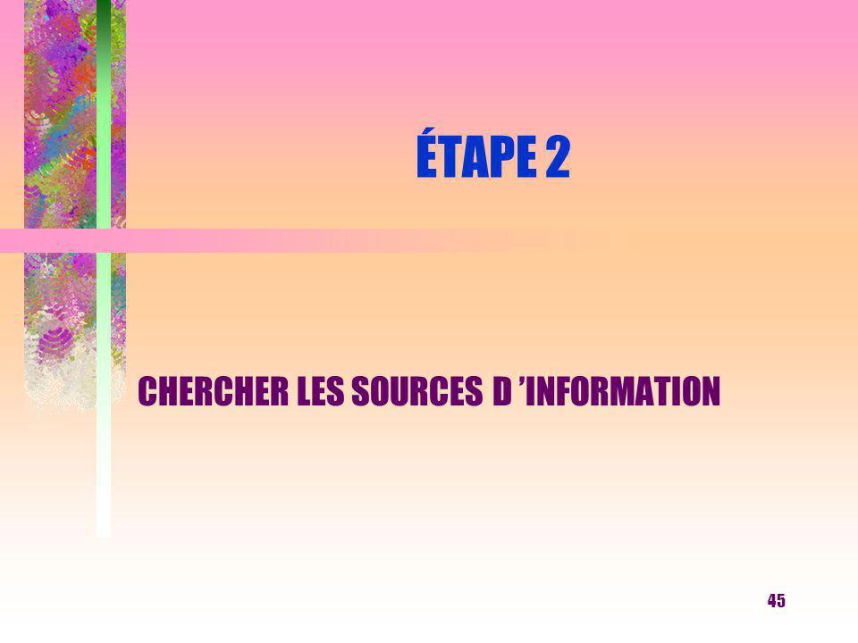 45 ÉTAPE 2 CHERCHER LES SOURCES D INFORMATION