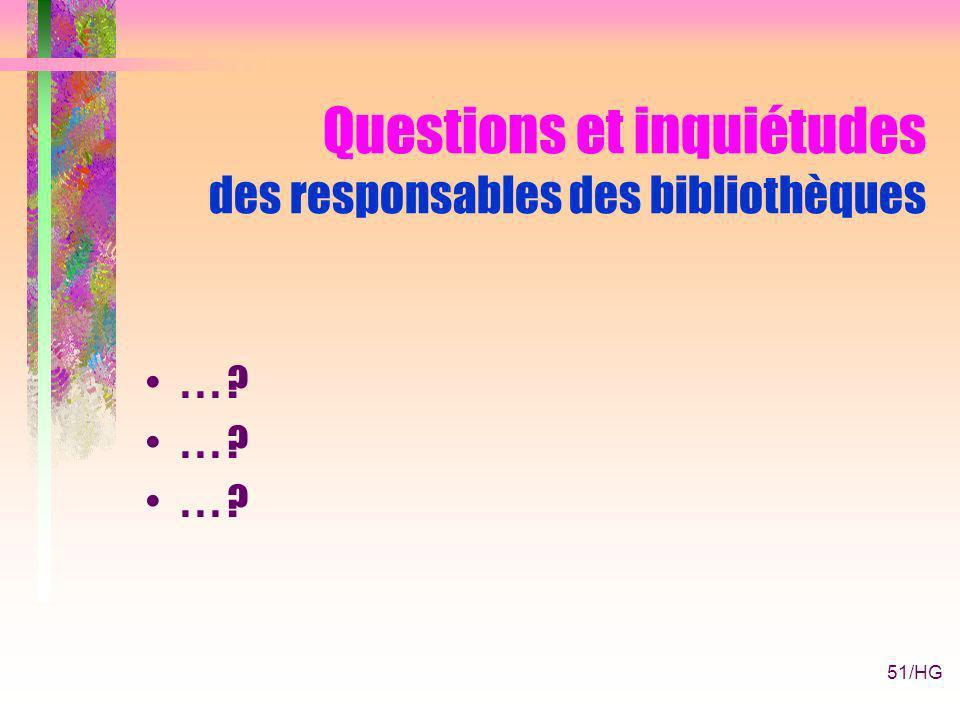 51/HG Questions et inquiétudes des responsables des bibliothèques... ?