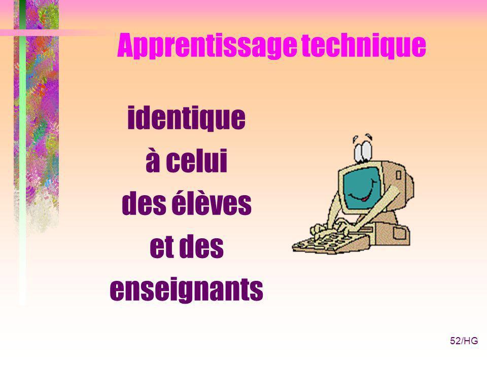 52/HG Apprentissage technique identique à celui des élèves et des enseignants