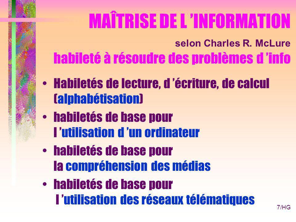 7/HG MAÎTRISE DE L INFORMATION selon Charles R.