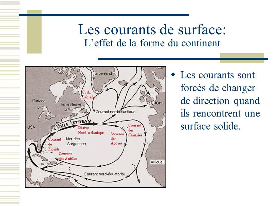 Les courants de surface: Leffet de la forme du continent Les courants sont forcés de changer de direction quand ils rencontrent une surface solide.