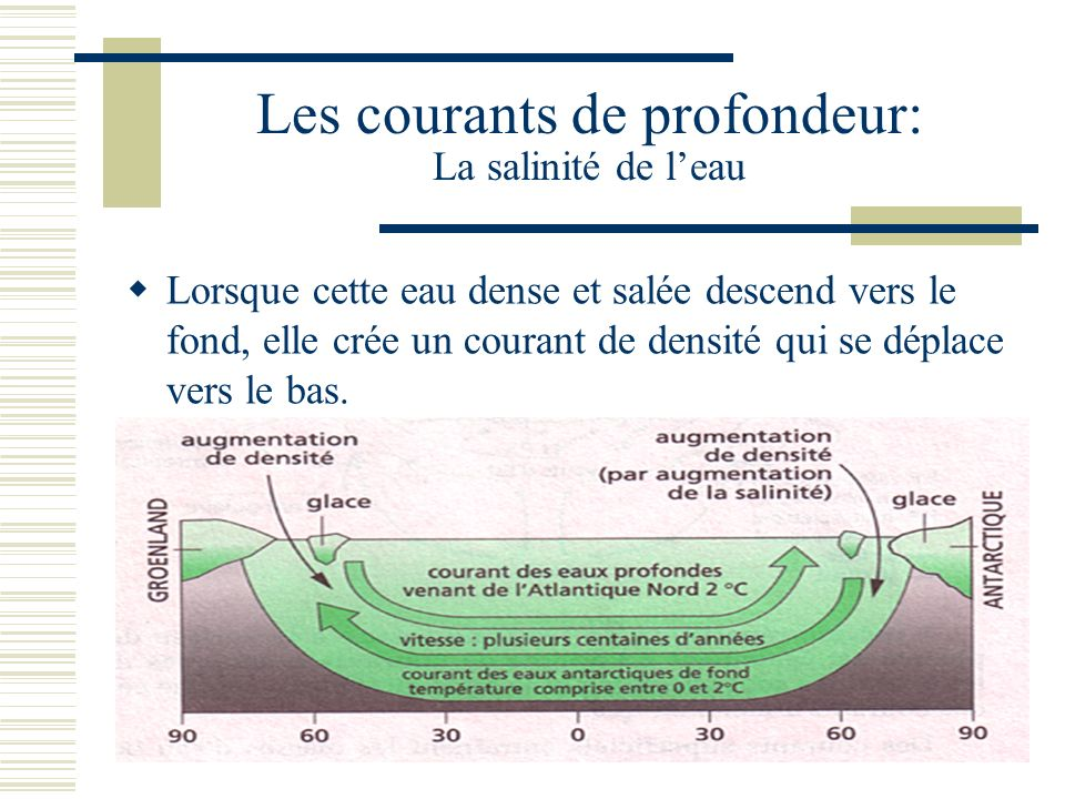 Les courants de profondeur: La salinité de leau Lorsque cette eau dense et salée descend vers le fond, elle crée un courant de densité qui se déplace