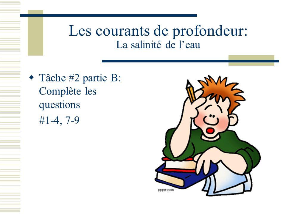 Les courants de profondeur: La salinité de leau Tâche #2 partie B: Complète les questions #1-4, 7-9