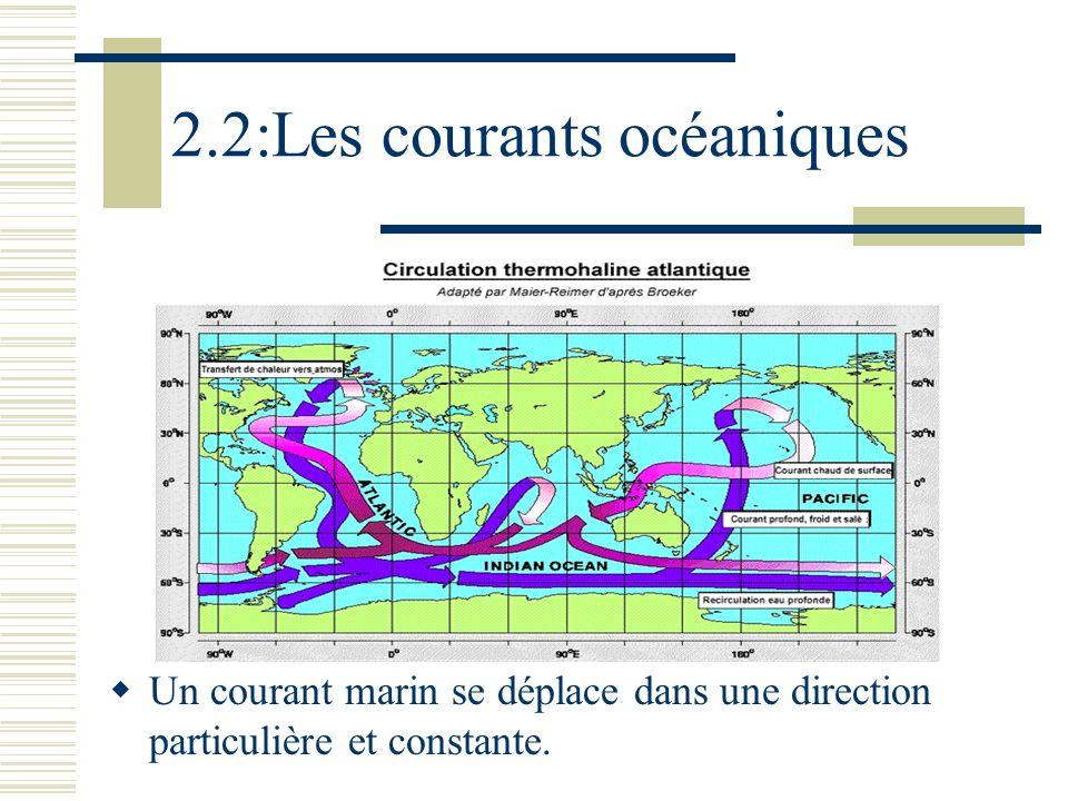 2.2:Les courants océaniques Un courant marin se déplace dans une direction particulière et constante.