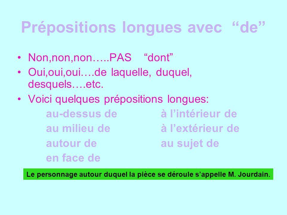 Prépositions longues avec de Non,non,non…..PAS dont Oui,oui,oui….de laquelle, duquel, desquels….etc. Voici quelques prépositions longues: au-dessus de