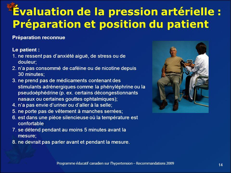 14 Programme éducatif canadien sur lhypertension – Recommandations 2009 Évaluation de la pression artérielle : Préparation et position du patient Préparation reconnue Le patient : 1.