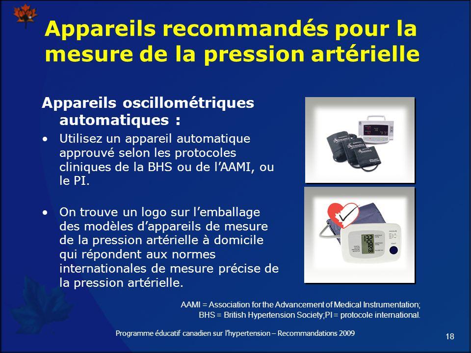 18 Programme éducatif canadien sur lhypertension – Recommandations 2009 Appareils recommandés pour la mesure de la pression artérielle Appareils oscillométriques automatiques : Utilisez un appareil automatique approuvé selon les protocoles cliniques de la BHS ou de lAAMI, ou le PI.