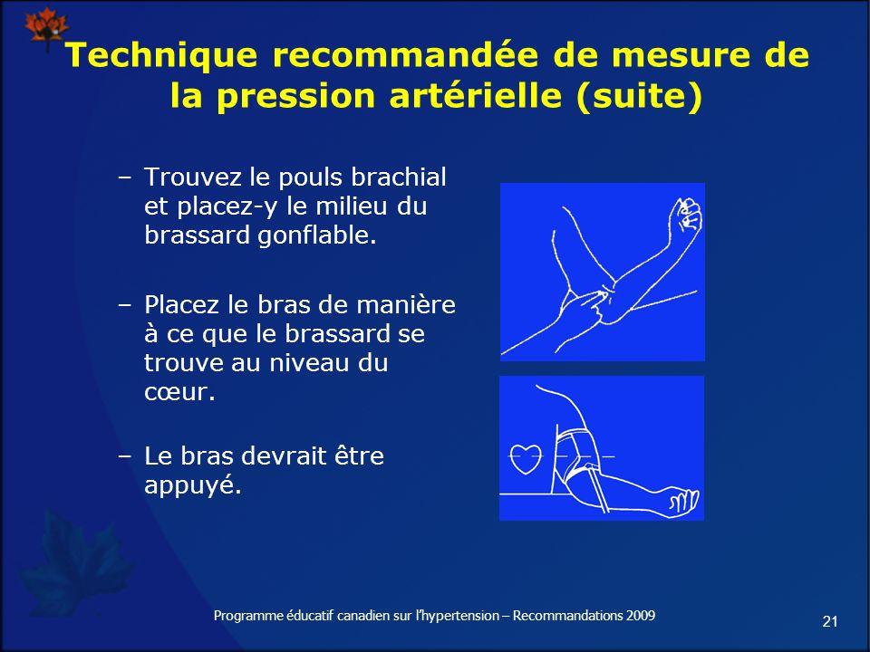 21 Programme éducatif canadien sur lhypertension – Recommandations 2009 Technique recommandée de mesure de la pression artérielle (suite) –Trouvez le pouls brachial et placez-y le milieu du brassard gonflable.