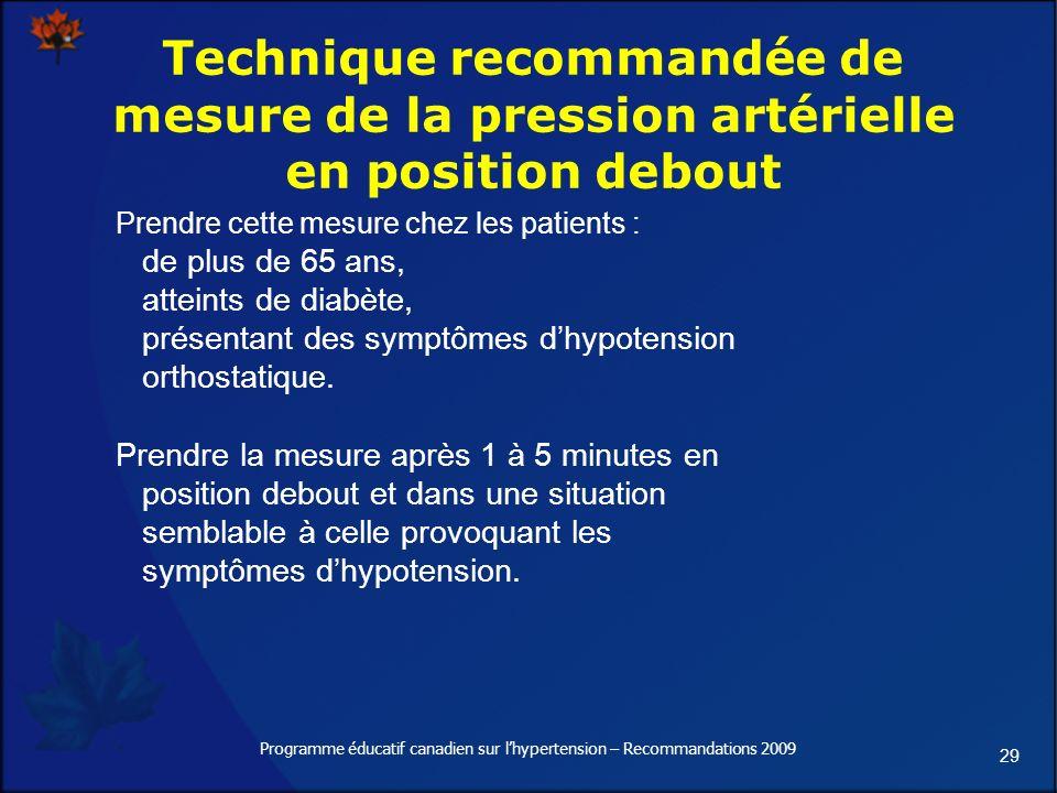 29 Programme éducatif canadien sur lhypertension – Recommandations 2009 Technique recommandée de mesure de la pression artérielle en position debout Prendre cette mesure chez les patients : de plus de 65 ans, atteints de diabète, présentant des symptômes dhypotension orthostatique.