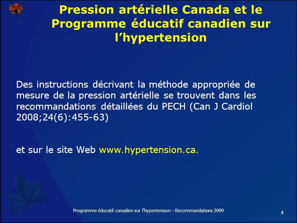 5 Programme éducatif canadien sur lhypertension – Recommandations 2009 Mesure de la pression artérielle et diagnostic de lhypertension 1 adulte canadien sur 5 est atteint dhypertension Plus de 40 % des Canadiens de 56 à 65 ans sont atteints dhypertension Selon létude de Framingham, 90 % des personnes normotendues, de 55 à 65 ans, seront atteintes dhypertension au cours des 20 années suivantes