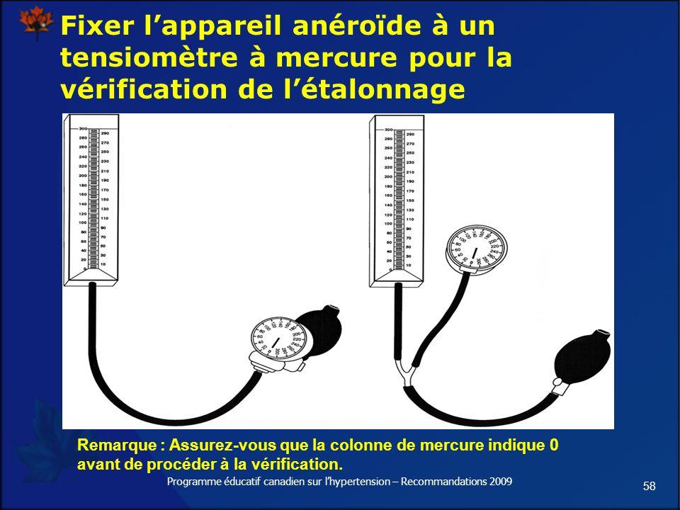 58 Programme éducatif canadien sur lhypertension – Recommandations 2009 Fixer lappareil anéroïde à un tensiomètre à mercure pour la vérification de létalonnage Remarque : Assurez-vous que la colonne de mercure indique 0 avant de procéder à la vérification.