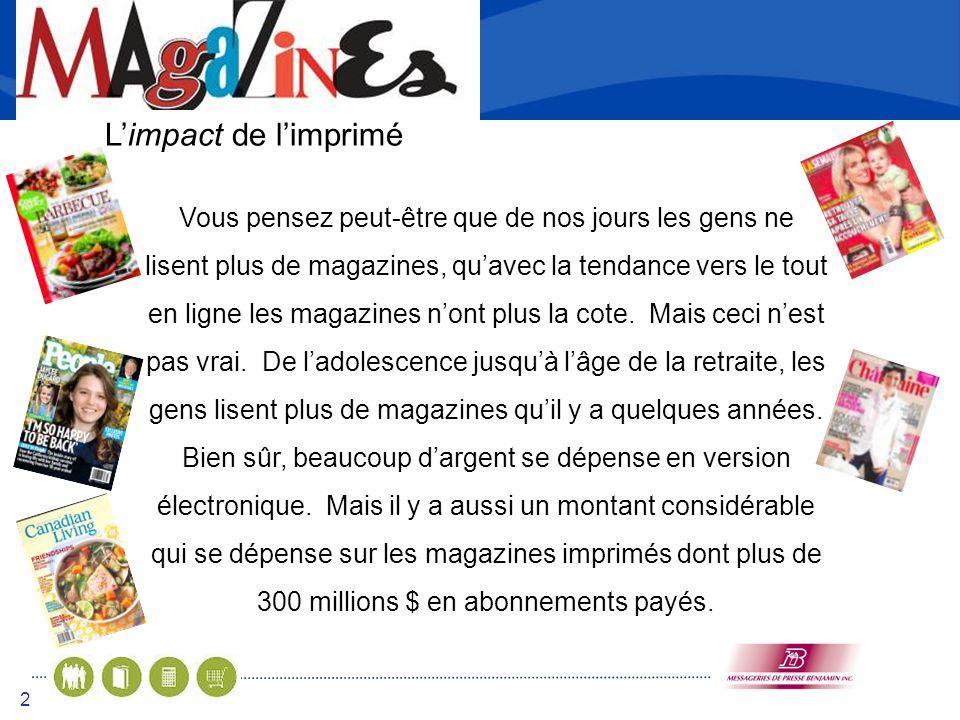3 Les mythes et vérités sur les magazines MYTHE – Les magazines ferment par manque de lecteurs –VÉRITÉ– Le nombre de lecteurs de magazines a augmenté de 4.3% dans les derniers 5 ans.
