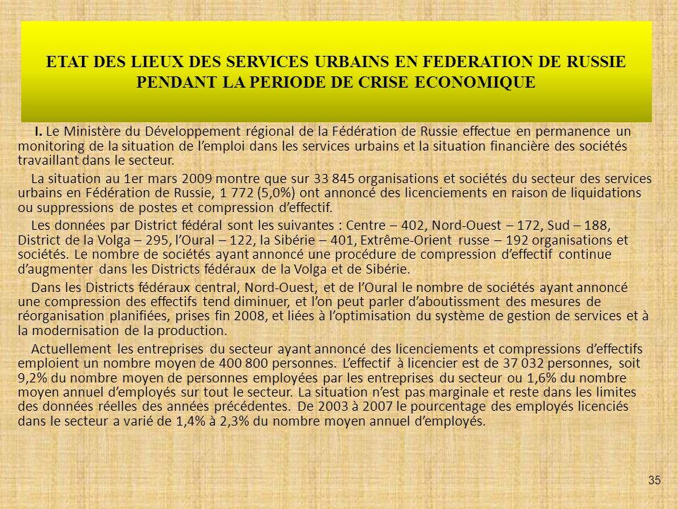 ETAT DES LIEUX DES SERVICES URBAINS EN FEDERATION DE RUSSIE PENDANT LA PERIODE DE CRISE ECONOMIQUE I. Le Ministère du Développement régional de la Féd