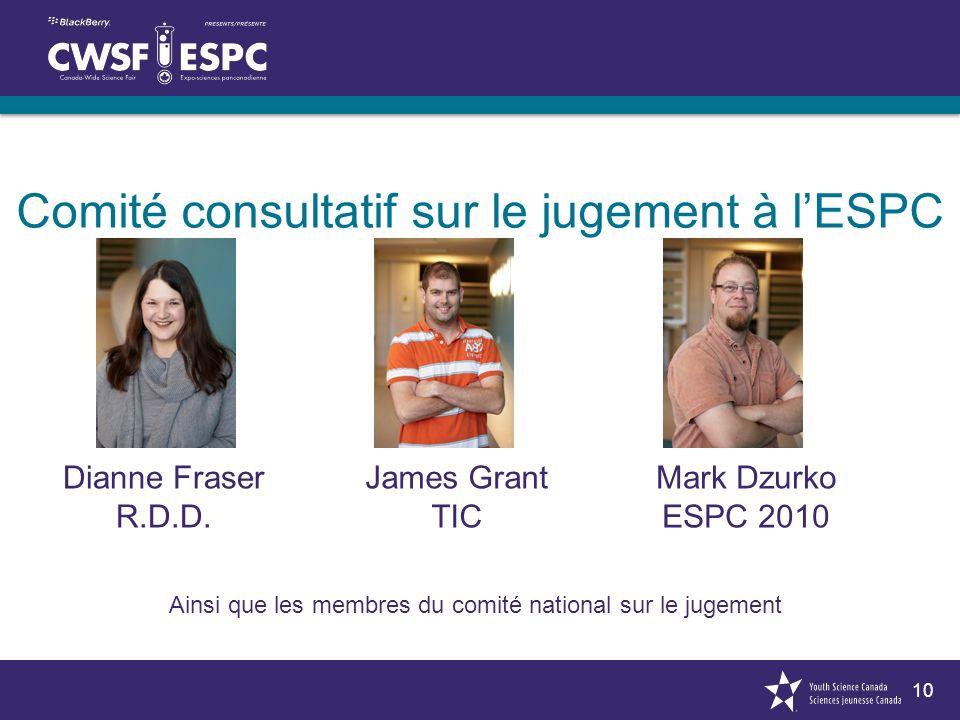 10 Dianne Fraser R.D.D. James Grant TIC Mark Dzurko ESPC 2010 Comité consultatif sur le jugement à lESPC Ainsi que les membres du comité national sur