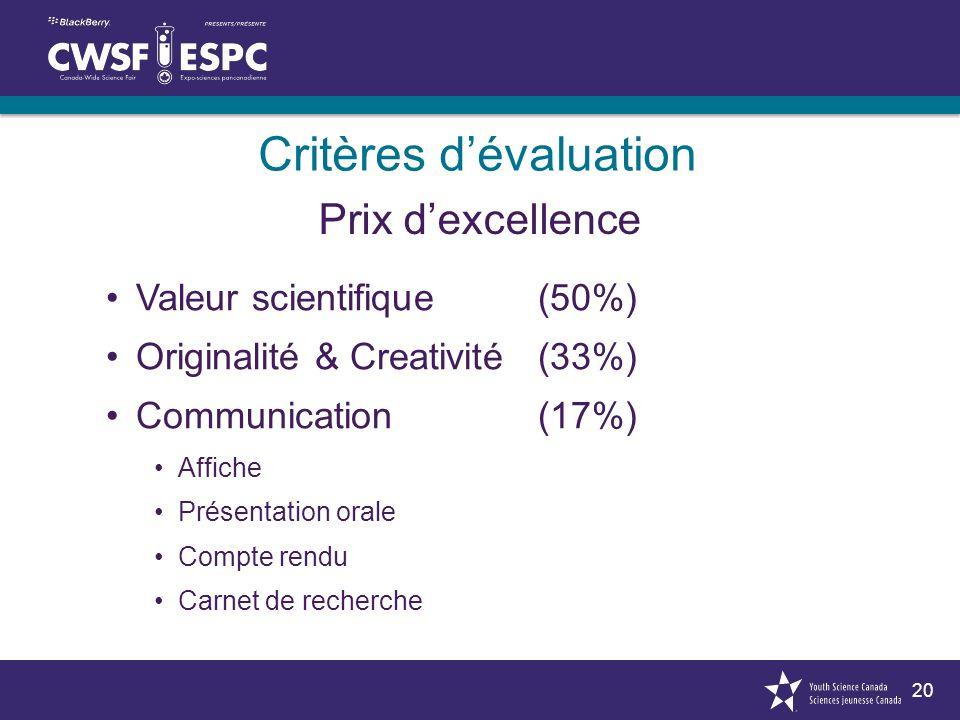 20 Critères dévaluation Valeur scientifique(50%) Originalité & Creativité(33%) Communication (17%) Affiche Présentation orale Compte rendu Carnet de recherche Prix dexcellence