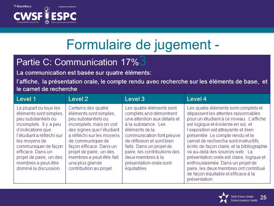 25 Partie C: Communication 17% La communication est basée sur quatre éléments: laffiche, la présentation orale, le compte rendu avec recherche sur les