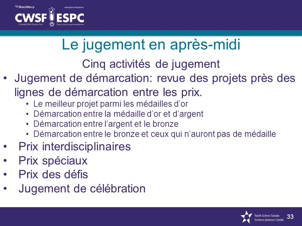 33 Le jugement en après-midi Cinq activités de jugement Jugement de démarcation: revue des projets près des lignes de démarcation entre les prix. Le m