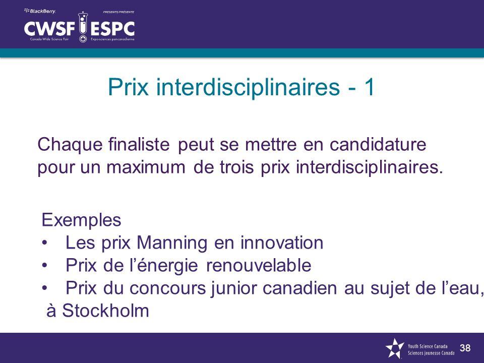 38 Chaque finaliste peut se mettre en candidature pour un maximum de trois prix interdisciplinaires. Prix interdisciplinaires - 1 Exemples Les prix Ma