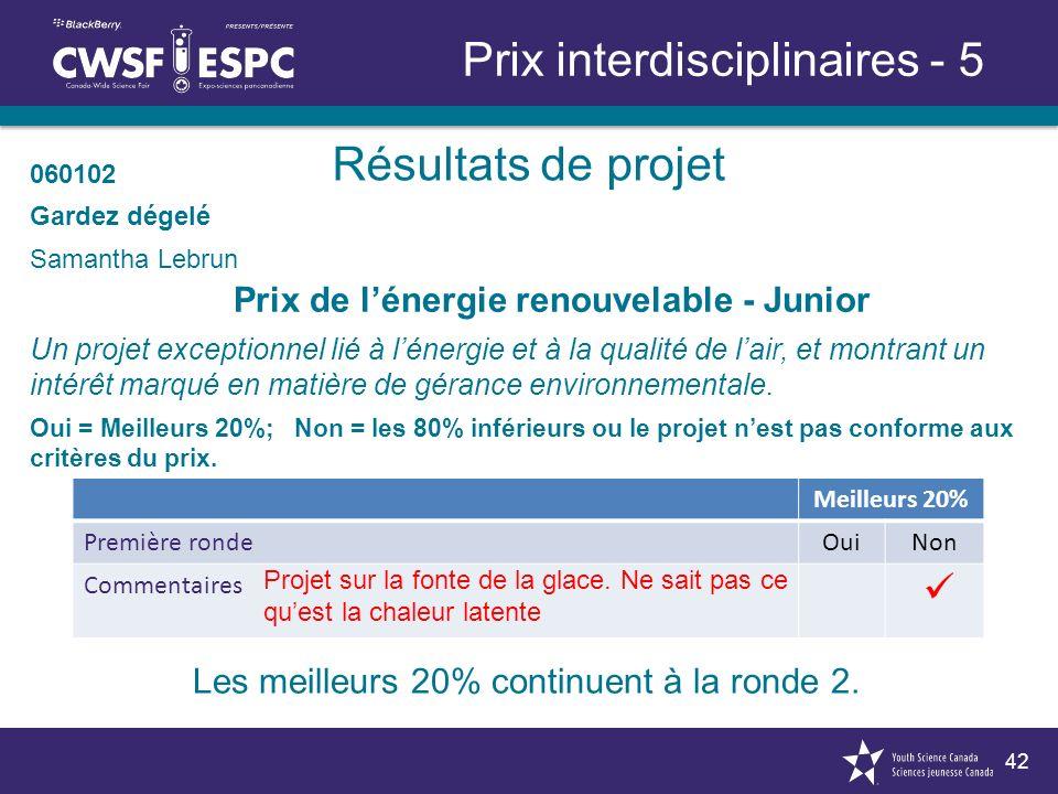 42 Résultats de projet Prix interdisciplinaires - 5 Prix de lénergie renouvelable - Junior Un projet exceptionnel lié à lénergie et à la qualité de lair, et montrant un intérêt marqué en matière de gérance environnementale.
