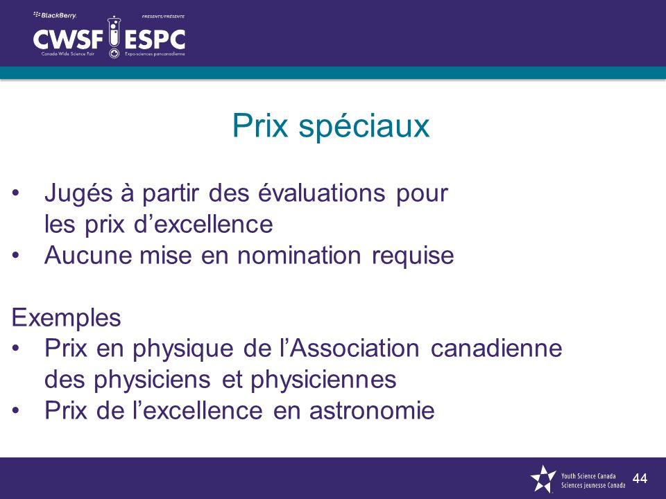 44 Prix spéciaux Jugés à partir des évaluations pour les prix dexcellence Aucune mise en nomination requise Exemples Prix en physique de lAssociation