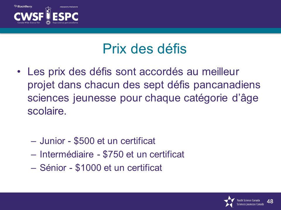 48 Prix des défis Les prix des défis sont accordés au meilleur projet dans chacun des sept défis pancanadiens sciences jeunesse pour chaque catégorie dâge scolaire.