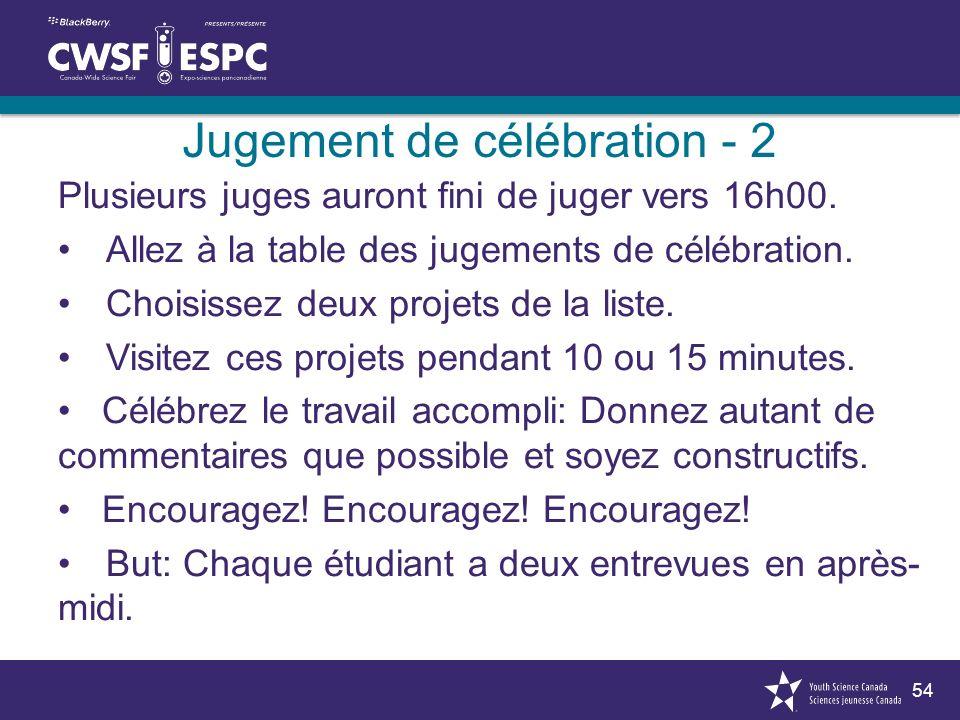 54 Jugement de célébration - 2 Plusieurs juges auront fini de juger vers 16h00.