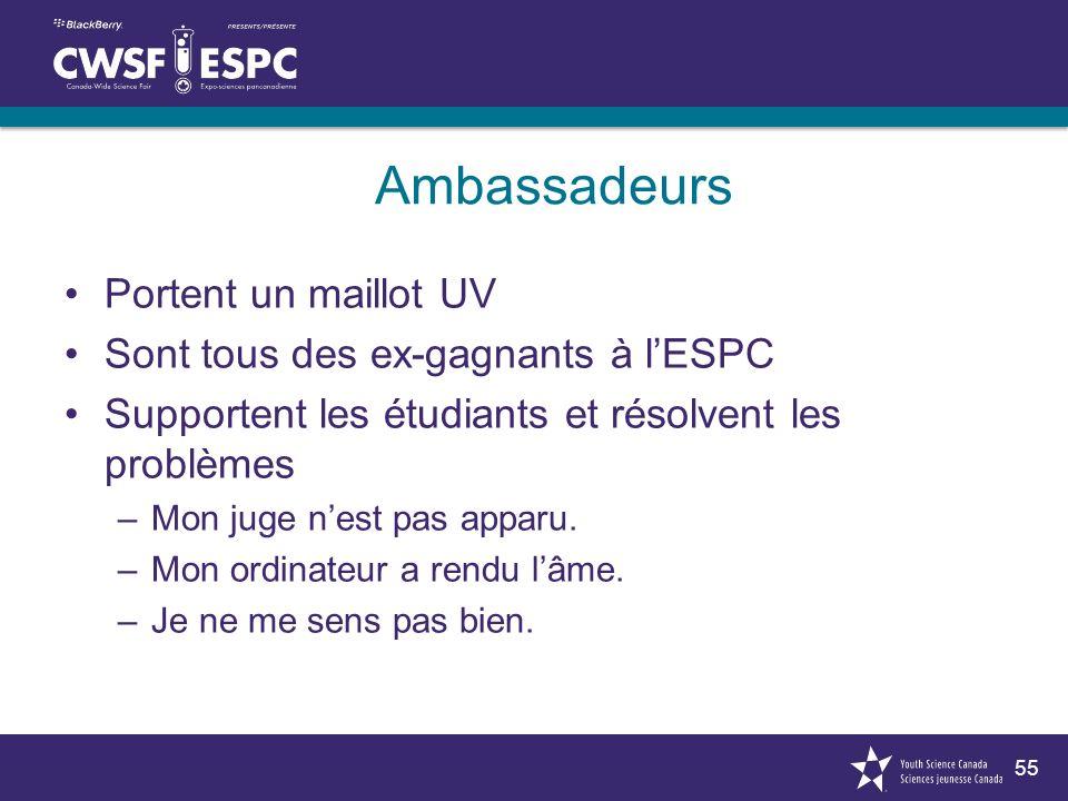 55 Ambassadeurs Portent un maillot UV Sont tous des ex-gagnants à lESPC Supportent les étudiants et résolvent les problèmes –Mon juge nest pas apparu.