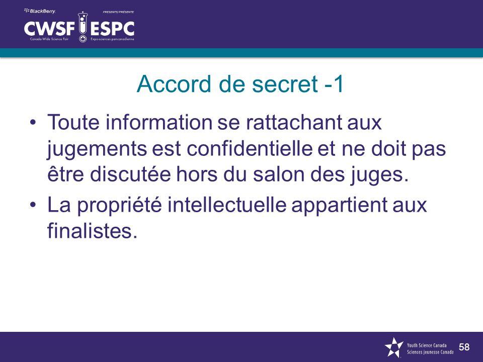 58 Accord de secret -1 Toute information se rattachant aux jugements est confidentielle et ne doit pas être discutée hors du salon des juges. La propr