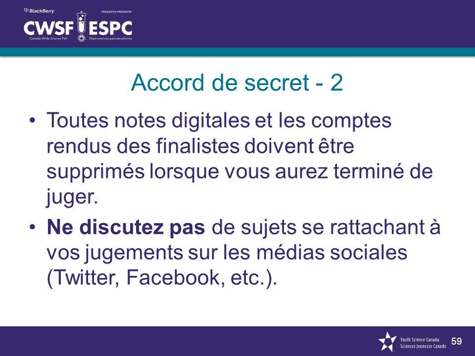 59 Accord de secret - 2 Toutes notes digitales et les comptes rendus des finalistes doivent être supprimés lorsque vous aurez terminé de juger.