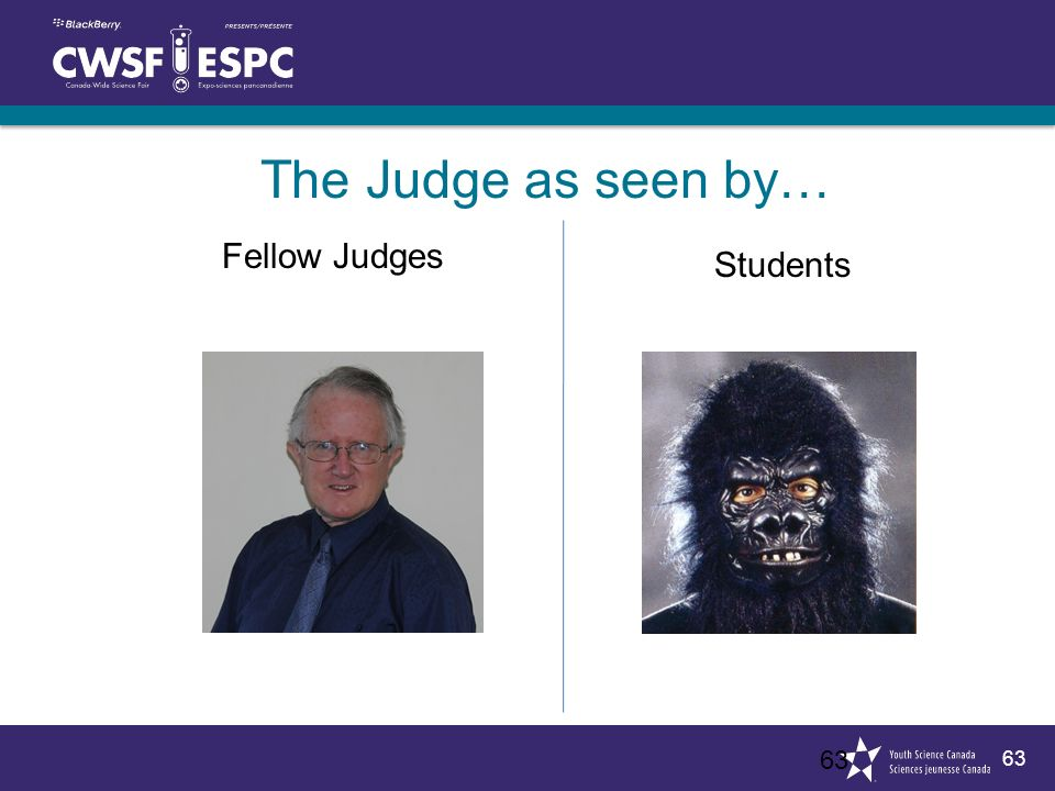 63 The Judge as seen by… 63 Fellow Judges Students