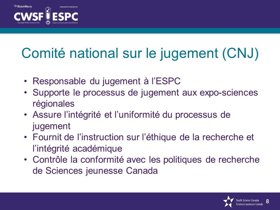 8 Comité national sur le jugement (CNJ) Responsable du jugement à lESPC Supporte le processus de jugement aux expo-sciences régionales Assure lintégri