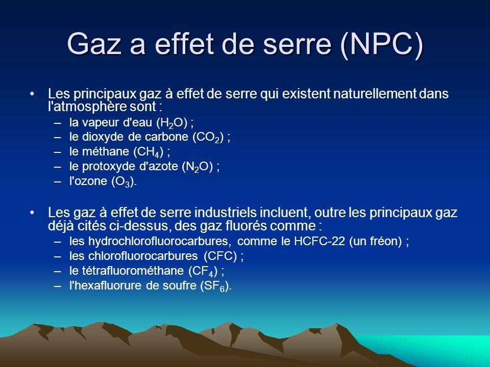 Gaz a effet de serre (NPC) Les principaux gaz à effet de serre qui existent naturellement dans l'atmosphère sont : –la vapeur d'eau (H 2 O) ; –le diox