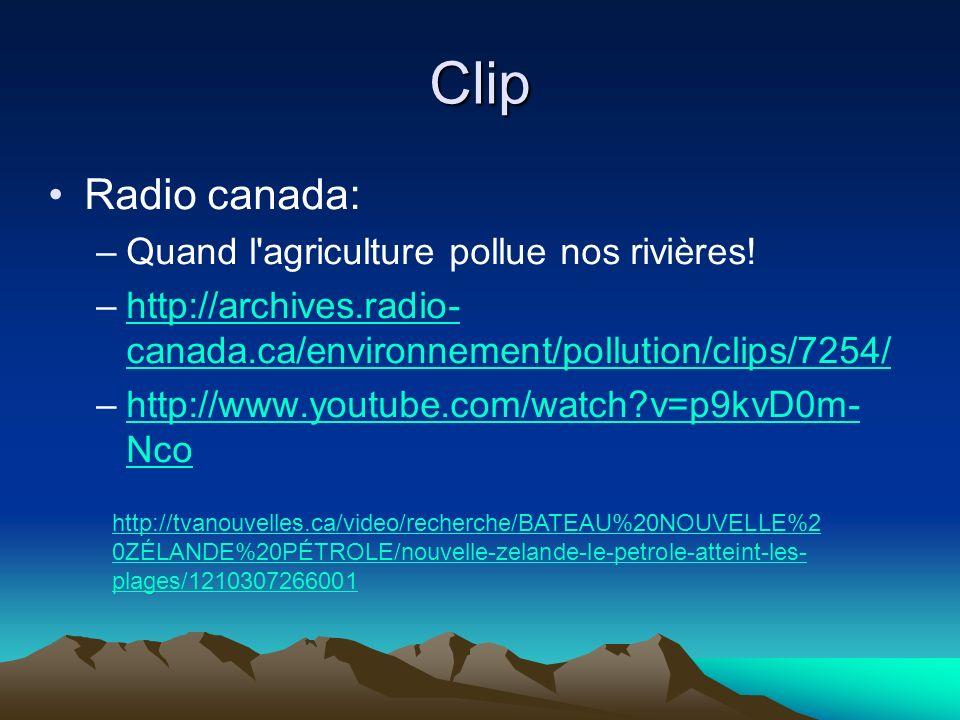 Clip Radio canada: –Quand l'agriculture pollue nos rivières! –http://archives.radio- canada.ca/environnement/pollution/clips/7254/http://archives.radi