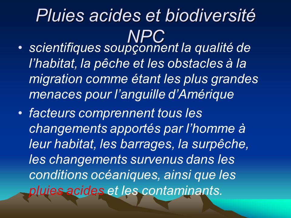 Pluies acides et biodiversité NPC scientifiques soupçonnent la qualité de lhabitat, la pêche et les obstacles à la migration comme étant les plus gran