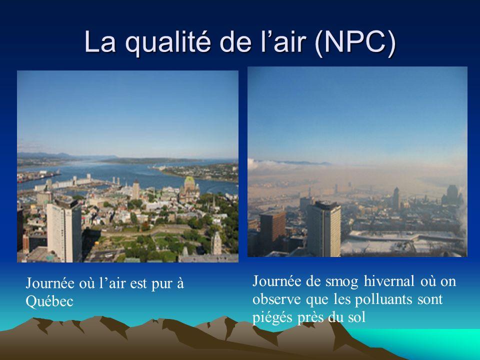 La qualité de lair (NPC) Journée où lair est pur à Québec Journée de smog hivernal où on observe que les polluants sont piégés près du sol