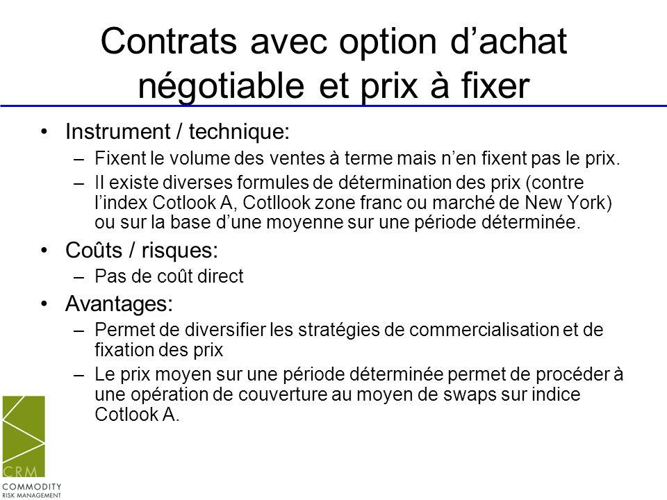 Contrats avec option dachat négotiable et prix à fixer Instrument / technique: –Fixent le volume des ventes à terme mais nen fixent pas le prix. –Il e