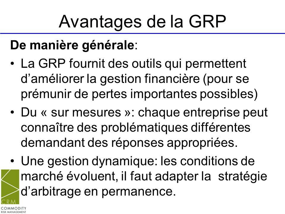 Avantages de la GRP De manière générale: La GRP fournit des outils qui permettent daméliorer la gestion financière (pour se prémunir de pertes importa