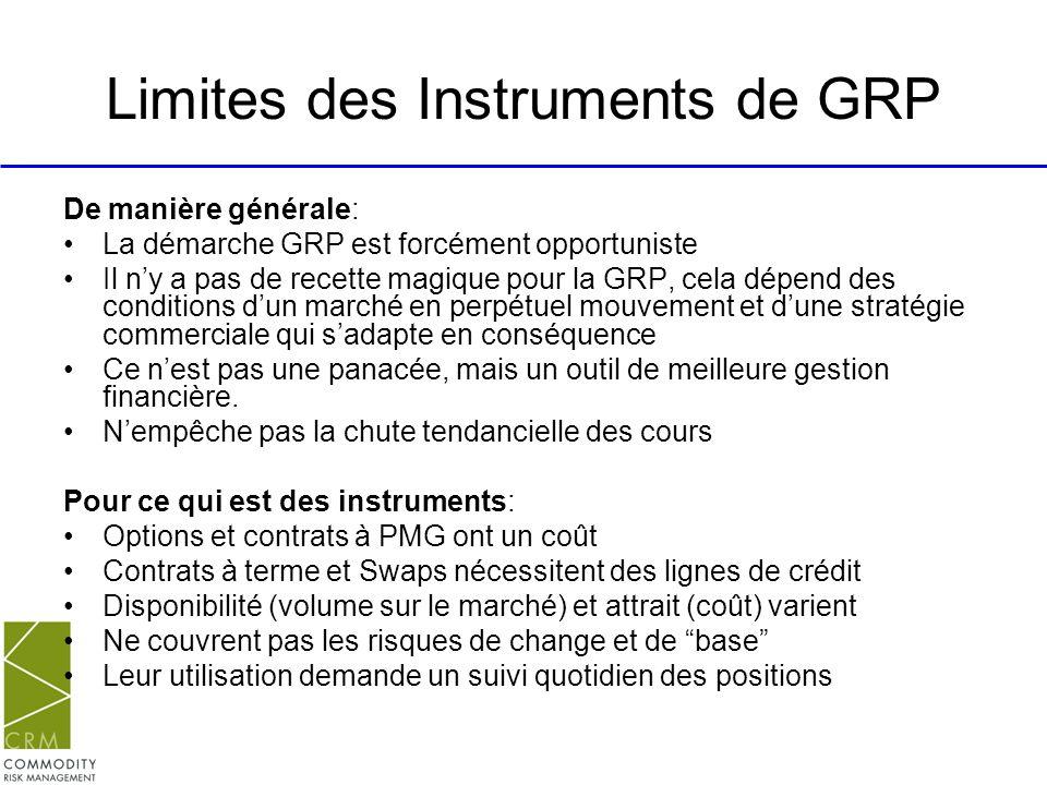 Limites des Instruments de GRP De manière générale: La démarche GRP est forcément opportuniste Il ny a pas de recette magique pour la GRP, cela dépend