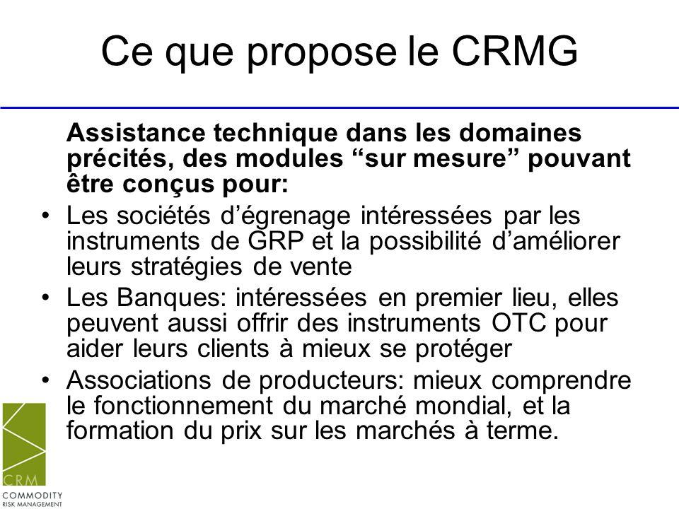 Ce que propose le CRMG Assistance technique dans les domaines précités, des modules sur mesure pouvant être conçus pour: Les sociétés dégrenage intére