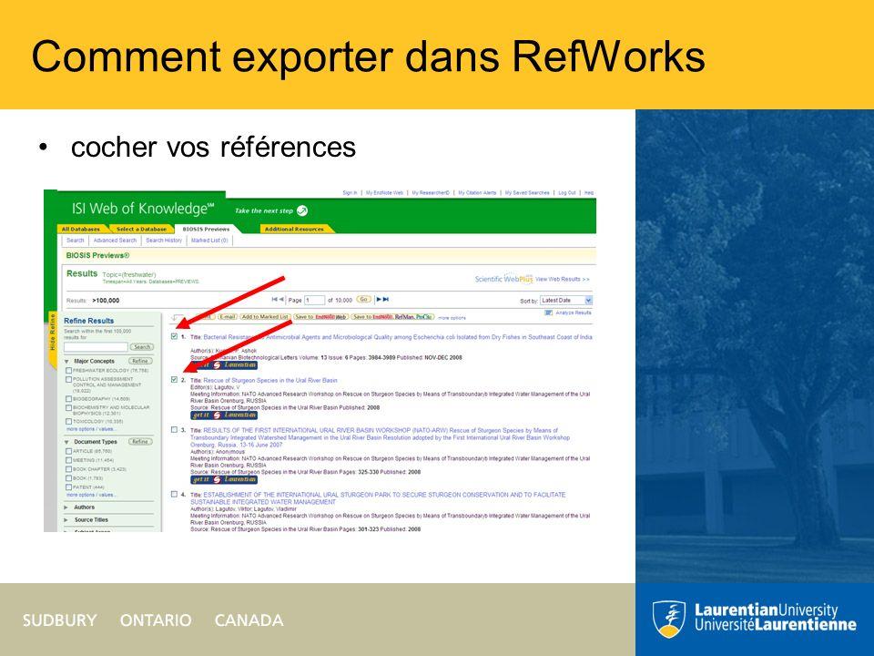 Comment exporter dans RefWorks cocher vos références