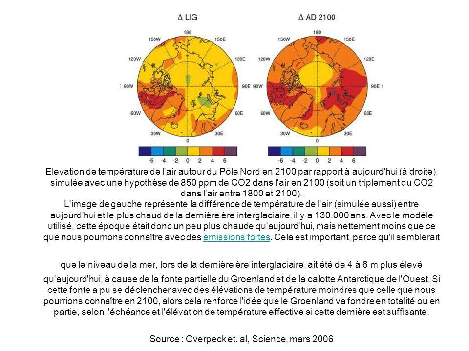 Elevation de température de l'air autour du Pôle Nord en 2100 par rapport à aujourd'hui (à droite), simulée avec une hypothèse de 850 ppm de CO2 dans