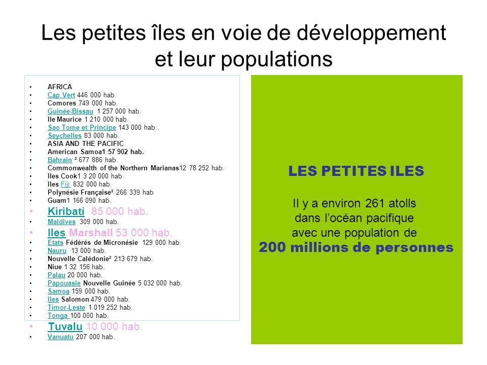 Les petites îles en voie de développement et leur populations AFRICA Cap Vert 446 000 hab.Cap Vert Comores 749 000 hab. Guinée-Bissau 1 257 000 hab.Gu