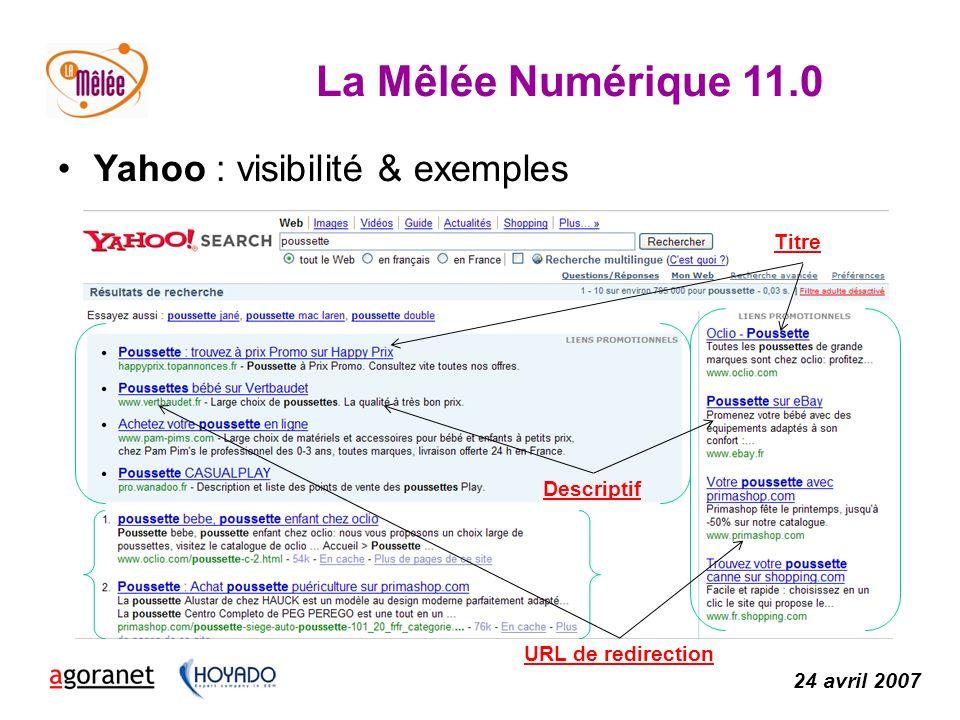 La Mêlée Numérique 11.0 24 avril 2007 Titre Descriptif URL de redirection Yahoo : visibilité & exemples