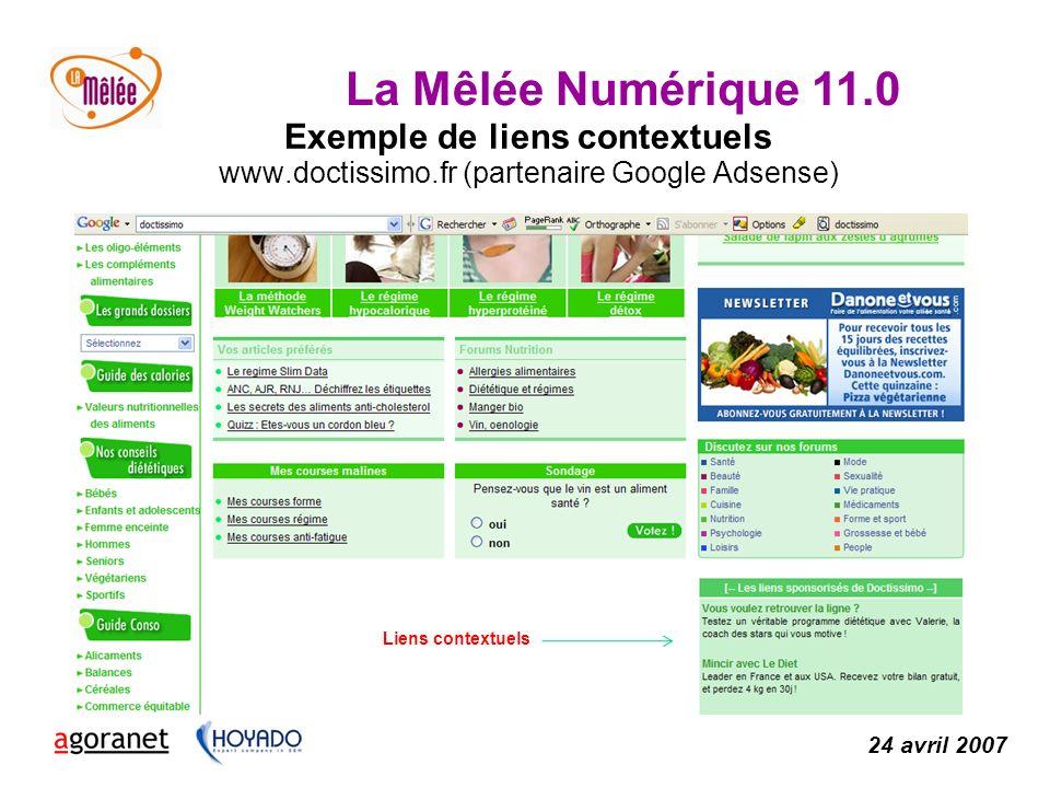 La Mêlée Numérique 11.0 24 avril 2007 Exemple de liens contextuels www.doctissimo.fr (partenaire Google Adsense) Liens contextuels